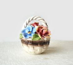 Vintage Capodimonte Flowers In Basket Pink by MomsantiquesNthings