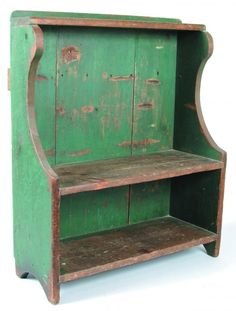 """Good Small Size Center County, PA Softwood Bucket Bench with original green paint. Molded splash-back, shaped shelf supports and arched cut-out feet. Condition: Expected wear to paint. 37""""h x 30 ½""""w x 12""""d."""
