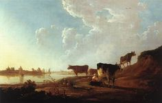 Aelbert Jacobsz Cuyp (October 1620 - November was one of the leading Dutch landscape painters of the Dutch Golden Age in the century. The most famous of a family of painters, the pup Classic Paintings, Great Paintings, Landscape Paintings, Landscapes, Oil Paintings, Dutch Golden Age, Unique Trees, Country Art, Old Master