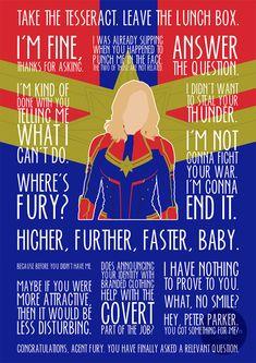 Captain Marvel by MacGuffin Designs - - Shuri or Dr. Strange next? Marvel Avengers, Avengers Quotes, Marvel Quotes, Marvel Funny, Marvel Memes, Marvel Dc Comics, Marvel Logo, Ms Marvel, Marvel Art