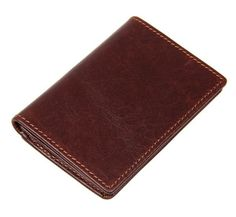 100% Cowhide Leather Men's Coffee Card Holder Purse
