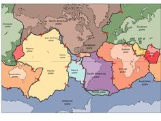 Major tectonic plates with directional movement arrows.