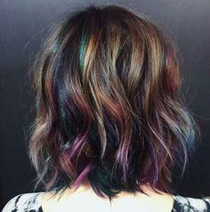 Oil slick hair color for short brunette hair
