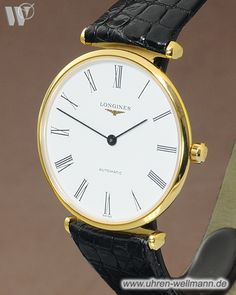 Longines Le Grande Classique L-47082112, Herrenuhr, Automatik, vergoldet, Lederband mit Stiftschließe, Gehäuseboden Saphirglas