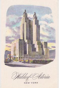 WALDORF ASTORIA NYC New York Vintage Postcard by AgnesOfBohemia, $2.99
