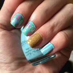 Happy Mani Monday! This week I created a pretty whimsical spring themed mani. I started with Sally Hansen Triple Strong Strenthener. Next I painted my ring fingers with LA Colors Color …