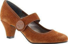 "ARRAY Women's Shoes in Chestnut Color. This playfully posh pump is a true treasure for your wardrobe. Smooth or suede leather upper with roomy rounded toe. Adjustable hook-and-loop mary jane strap. Generously cushioned footbed. Fexible rubber sole for lasting comfort. 2"" covered heel #ARRAY #chestnut #shoes #fashion #style"