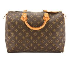 Pre-Owned Louis Vuitton Monogram Speedy 30 Bag (€745) ❤ liked on Polyvore featuring bags, brown, louis vuitton bags, double zip bag, pocket bag, handle bag and monogrammed bags