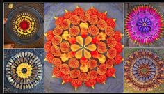 Big list Flower Rangoli Designs ideas and pictures for this ganesh chaturthi or any other Indian festivals. Learn flower rangoli designs for competition with flowers. Mandala Art, Mandala Design, Mandala Nature, Mandalas Painting, Mandalas Drawing, Mandala Meditation, Zentangles, Rangoli Designs, Flower Circle
