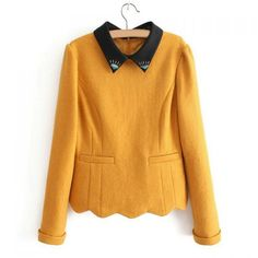 £16.32 Simple All-Match Turn-Down Collar Beaded Hemming Cuff Sawtooth Hem Blended Long Sleeves Slimming Women's Blouse, YELLOW, S in Blouses   DressLily.com