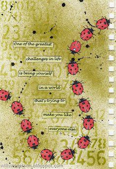 ladybug journal page Art Journal Pages, Art Journals, Mixed Media Journal, Mixed Media Art, Altered Books, Altered Art, Round Robin, Affinity Designer, Artist Trading Cards