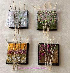 "Lee Ann Walker 2- 2"", 1:27:2015 Week two Seasons: two inch commercial felt base, burlap, paint, thread, sequins, beads and netting:"