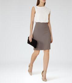 Womens Off White/pebble Block-colour Dress - Reiss Nima