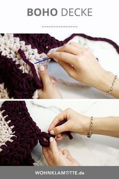 """Wir machen mit dem """"we are knitters"""" Strickset für die Samasana Decke eine Häkeldecke im Boho Stil. Boho Stil, Fingerless Gloves, Arm Warmers, Diy, Fashion, Mantas Crochet, Creative, Pattern, Homes"""