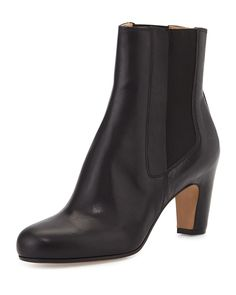 Leather Pull-On Ankle Boot, Black