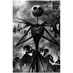 Disney The Nightmare Before Christmas Storm Poster (€7,59) ❤ liked on Polyvore featuring home, home decor, multi, christmas home decor, disney and disney home decor