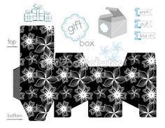 caja de regalo para imprimir con el patrón de contraste — Vector ...