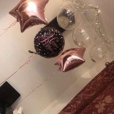 •stringsI or thread to hang balloons with  •Fairy light,  •Clear  balloons with confetti (can purchase them from Asda for £1.50 or Tesco's) •Masking tape  • To Attach the balloons tie them with the string and make a hoop which will attach onto the hook. To avoid making a holes in the ceiling you can used command damage free hooks •To reduce the weight of the fairy light use masking tape n tape it to the ceiling  #balloon #birthdayideas #adultbirthday #fariylightsballoons #fariylights