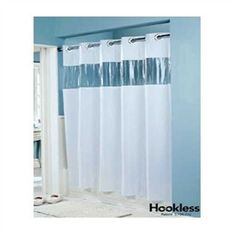 HooklessR White Vision Vinyl Shower Curtain With Clear Window Curtains Hookless