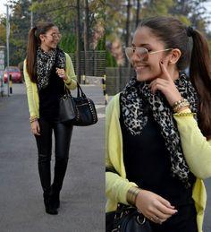 Autumn Winter Fashion, Fall Winter, Zara Cardigan, Forever 21 Bags, Zara Boots, Lemon Yellow, Ray Ban Sunglasses, Passion For Fashion, Color Pop