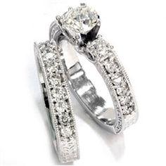150CT Vintage Diamond Engagement Wedding Ring Set 14K by Pompeii3, 1599.00