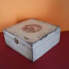 Wooden handpainted box, shabby chic, with decoration in rice paper