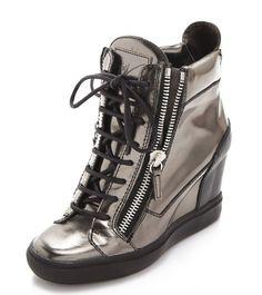 b44587c12836d Giuseppe Zanotti Metallic Wedge Sneakers Silver Wedges