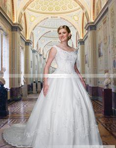 Fabuleuse Robe de bal Épaules nues Longueur sol Chapelle Appliques Robe de mariée grande taille