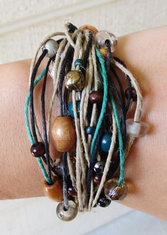 Beaded, Multi Strand, Hemp Bracelet - Fall Accessory