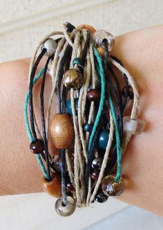 Beaded, Multi Strand, Hemp Bracelet - Fall Accessory