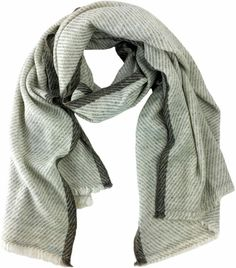 Striped Cashmere Scarf at AHAlife. This can be worn multiple ways perfect for cold evenings. Wrap yourself with these 2 ply cashmere scarves. Click for product description. #giftideas coffeetable... let's talk