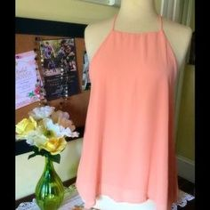 I just discovered this while shopping on Poshmark: SHEER PEACH HALTER TOP OPEN…