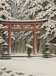 "Japanese Art Print ""Snow at the Hakone Gongen Shrine"" by Kawase Hasui. Shin Hanga and Art Reproductions http://www.amazon.com/dp/B00VCGM09K/ref=cm_sw_r_pi_dp_jDbtwb182GXQR"