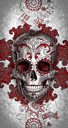 Digoil renowned floral sugar skull red Your canvas art will be stretched over a wooden frame. Candy Skulls, Hannya Maske, Totenkopf Tattoos, Sugar Skull Tattoos, Red Tattoos, Skull And Bones, Dark Art, Tatting, Sugar Skull Face