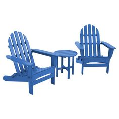 Share a refreshing cocktail while you watch the sunset from this bright blue Adirondack seating group, perfect for the beach house or vacation getaway.