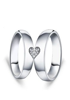 Matching Love Heart Couple Promise Rings Set for Girlfriend, Cheap Cubic Zirconia Diamond Two Half Hearts Wedding Rings in Silver, His and Hers Jewelry @ iDream-Jewelry.Com