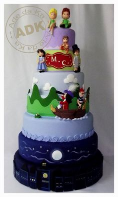 Utterly adorable Peter Pan cake. From Tinkerbell's crossed legs to the bottom layer skyscape - this is stunning!