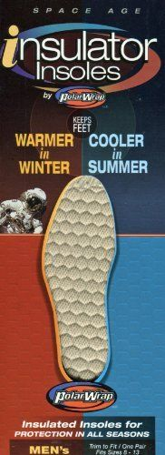 Men's Polar Wrap Insulated Shoe Insoles for Protection in All Seasons. Keps Feet Warmer in Winter and Cooler in Summer. Trim for Fit/ One Pair Fits Sizes 8-13 by Polar Wrap, http://www.amazon.com/dp/B006RWT808/ref=cm_sw_r_pi_dp_bIqIpb0CCGEZ8