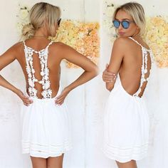 Summer Dress 2016 Women Casual Beach Short Mini Dress Lace White Backless Dress Sexy Party Dresses Vestidos Plus Size Sundress