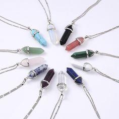2016  Women Fashion Vintage Pendants Bullet Crystal Necklace Natural Stone Quartz Necklaces Bijoux Jewelry Collares Chain -- Click image to review more details.