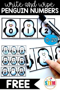 Teaching a penguin unit? This number activity is a must-have addition to your math centers. This free math game is a great way for kindergarten kids to work on counting and filling in missing numbers from this winter. Numbers Kindergarten, Kindergarten Centers, Teaching Math, Preschool Activities, Winter Activities, Numbers Preschool, Preschool Curriculum, Winter Games, Math Numbers