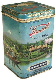 Ferndell Tea Orange Pekoe tea tin .. scene of Japanese garden with bridge and boaters wrapping around rectangular tin, hinged lid, mid 20th century, USA