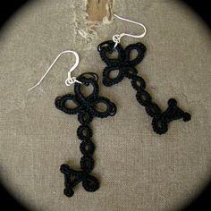 Tatted Lace Key Earrings - Skeleton Keys via Etsy