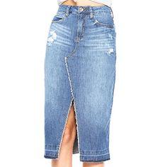 Jetzt stehlen: Saia Midi Jeans, Steal Now: Saia midi jeans Saia Jeans Saia Jeans. Jean Skirt, Denim Skirt, Diy Clothes Refashion, Make Your Own Clothes, Recycle Jeans, Jeans Rock, Sewing Clothes, Denim Fashion, Jeans Style