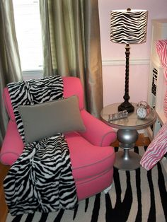 Funky Zebra by Frank Fazio Design But, I would have a blue chair to match my room!