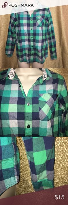 Shaun White Green/Blue Flannel Button down flannel. Blue and green. Has one front pocket, and buttons on the bottom of the sleeves. Size large. (12-14) Shaun White Tops Button Down Shirts