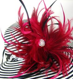 Red feathers Derby hat Black and White Kentucky by theoriginaltree, $69.97