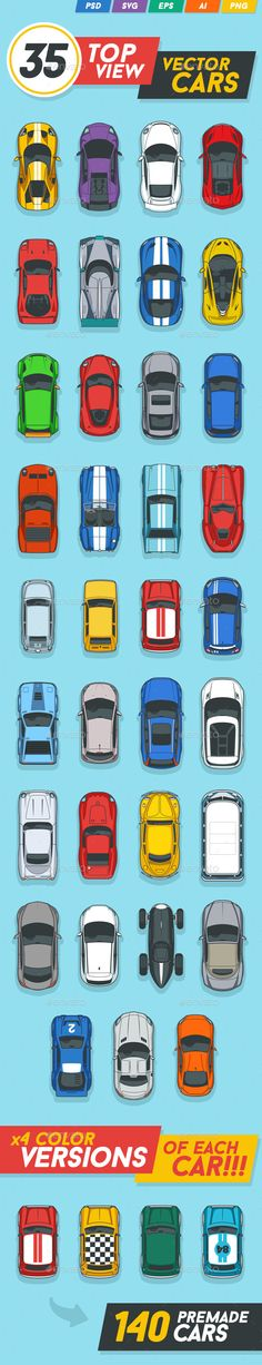 35 Top View Vector Cars - Sprites Game Assets