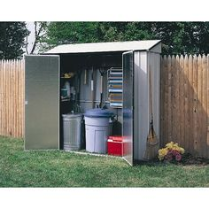 Arrow presents these storage sheds for yards and outdoor spaces. These sheds are made from steel and are seven feet wide. Use these locker-style storage sheds for a variety of materials. Fit everything you need into these sheds snugly.