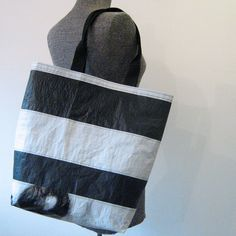 Recycled Lumber Wrap Tote Bag, Black and White Tote